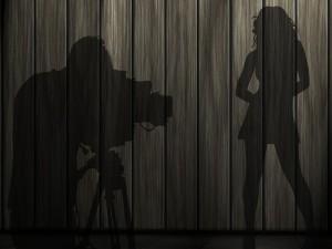 Postmodern theater and Film Photographer and Model shadow image