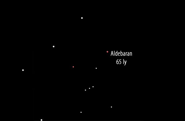 Star Aldebaran in the sky